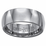 ArtCarved Conquest 8mm Plain Round Profile Tungsten Carbide Wedding Band