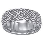 ArtCarved Corbin 8mm Lasered Celtic Knot Tungsten Carbide Wedding Band