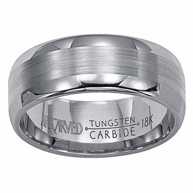 ArtCarved Corona 8mm Tungsten Carbide Wedding Band with 18K White Gold Center
