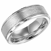 ArtCarved Curtis 7.5mm White Tungsten Carbide Ring with Beveled Edges