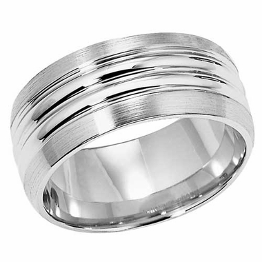 ArtCarved Danbury 8mm Palladium Ring with Double Groove