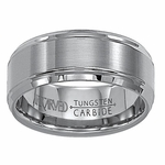 ArtCarved Devon 9mm Dual Finish Flat Tungsten Carbide Wedding Band with Ridged Edges