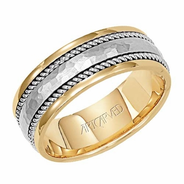 ArtCarved Essex 7.5mm 14K Yellow Gold and Palladium Ring