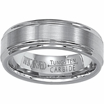 ArtCarved Exquisite 7mm Dual Finish Flat Tungsten Carbide Wedding Band with Ridged Edges