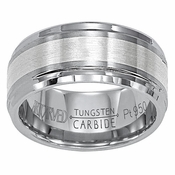 ArtCarved Forsythe 9mm Tungsten Carbide Wedding Band with Platinum Inlay