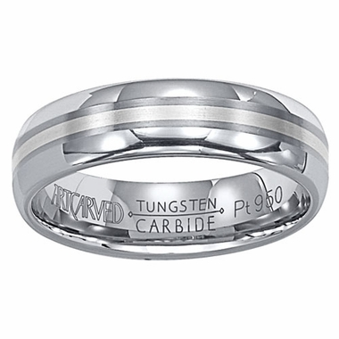 ArtCarved Gabe 6mm Tungsten Carbide Wedding Band with Platinum Inlay