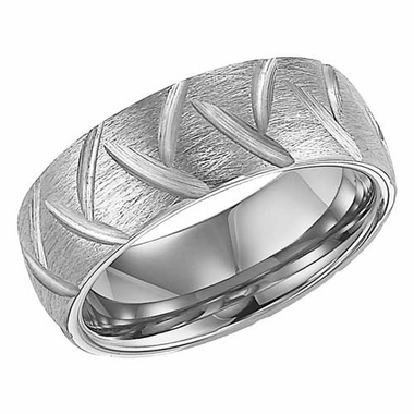 ArtCarved Garrett 8mm Tungsten Carbide Ring with Diagonal Cuts