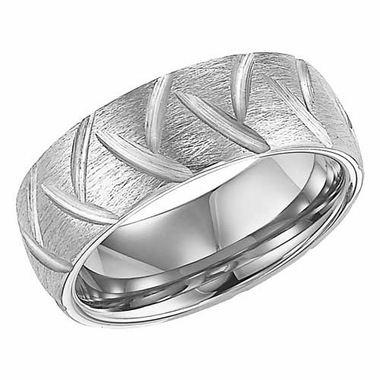 ArtCarved Garrett 8mm White Tungsten Carbide Ring with Diagonal Cuts