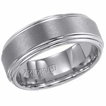 ArtCarved Grant 8mm Tungsten Carbide Ring with Double Edge