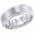 ArtCarved Grant 8mm White Tungsten Carbide Ring with Double Edge