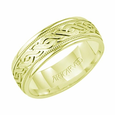 ArtCarved Granville 6mm 14K Yellow Gold Engraved Ring