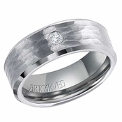 ArtCarved Hawkins 8mm Hammered Tungsten Carbide Diamond Ring