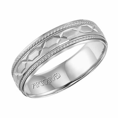 ArtCarved Hawthrone 14K White Gold Milgrain Wedding Band