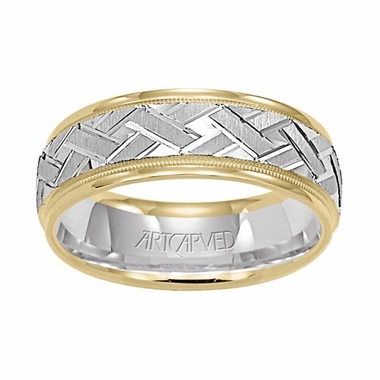ArtCarved Intrigue 14K Gold Two-Tone Wedding Band