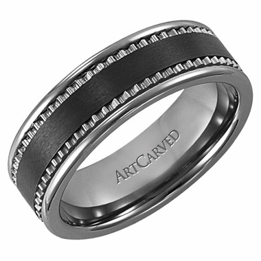 ArtCarved Jake 7mm Tungsten Carbide Wedding Band with Ceramic Inlay