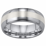 ArtCarved Jordan 8mm Dual Finish Tungsten Carbide Wedding Band with Sterling Silver Inlay
