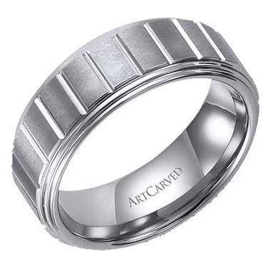 ArtCarved Landon 8mm Slotted White Tungsten Carbide Wedding Band