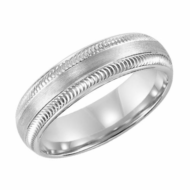 ArtCarved Liberto 6mm 14K White Gold Ring