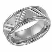 ArtCarved Livingston 9mm Tungsten Carbide Ring with Diagonal Cuts