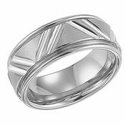 ArtCarved Livingston 9mm White Tungsten Carbide Ring with Diagonal Cuts