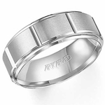 ArtCarved Logan 8mm Slotted White Tungsten Carbide Wedding Band