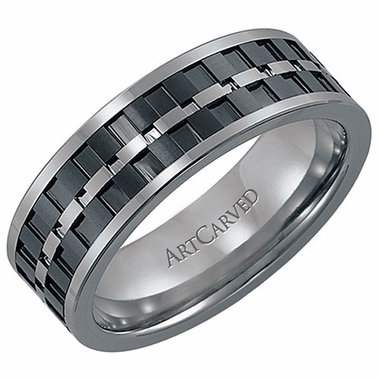 ArtCarved Lorenzo 7mm Tungsten Carbide Wedding Band with Ceramic Inlay