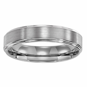 ArtCarved Lowell 5mm Dual Finish Flat Tungsten Carbide Wedding Band with Step Edges