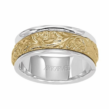 ArtCarved Lyric 8mm 14K Two Tone Wedding Band