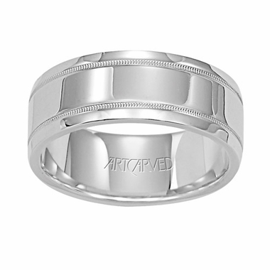 ArtCarved Mason 8mm 14K White Gold Ring