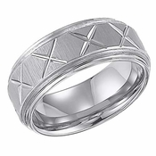 ArtCarved Matthews 9mm White Tungsten Carbide Ring with Cuts