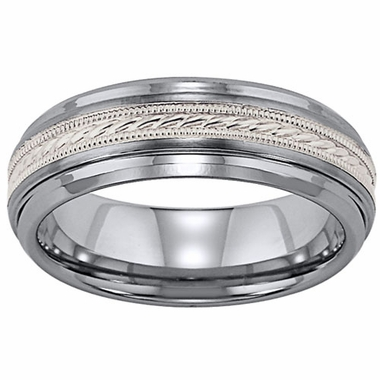 ArtCarved Mayson 7mm Tungsten Carbide Wedding Band with Milgrain Sterling Silver Inlay