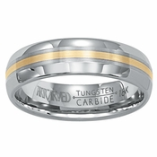 ArtCarved Momento 6mm Tungsten Carbide Wedding Band with 18K Yellow Gold Center