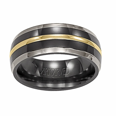 ArtCarved Mystique 7mm Gray and Black Titanium Wedding Band with 18K Yellow Gold Inlay