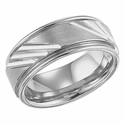 ArtCarved Newfield 9mm White Tungsten Carbide Ring with Diagonal Grooves