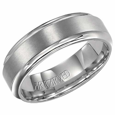 ArtCarved Newton 7mm Titanium Ring with Rounded Edge
