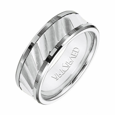 ArtCarved Olsen 8mm White Tungsten Carbide Ring