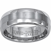 ArtCarved Orion 8mm Dual Finish Tungsten Carbide Wedding Band