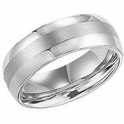 ArtCarved Orion 8mm Dual Finish White Tungsten Carbide Wedding Band