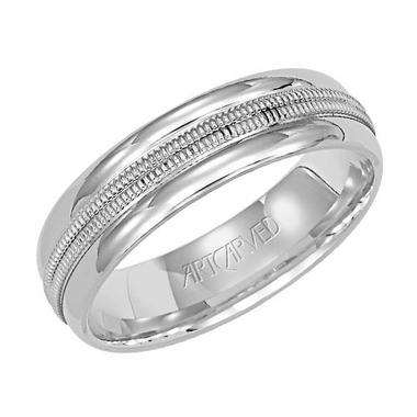 ArtCarved Plume 6mm 14K White Gold Ring