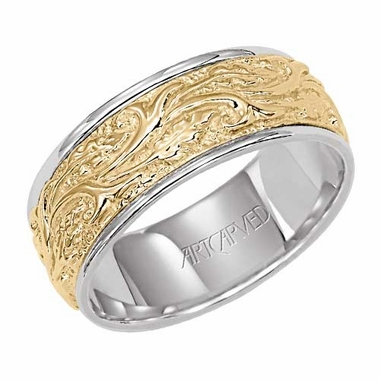 ArtCarved Pristine 8mm 14K Gold Reverse True Ring