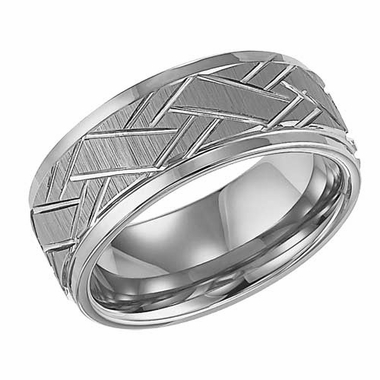 ArtCarved Rawlins 9mm Tungsten Carbide Ring with Cuts