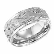 ArtCarved Rawlins 9mm White Tungsten Carbide Ring with Cuts