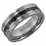 ArtCarved Renato 7mm Tungsten Carbide Wedding Band with Ceramic Inlay
