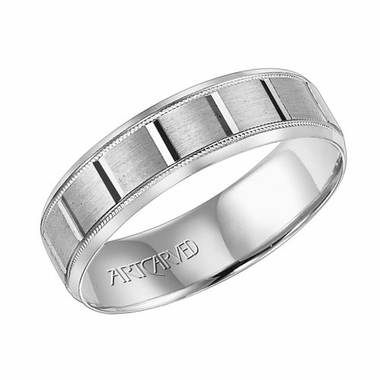 ArtCarved Sampson 6mm 14K White Gold Ring