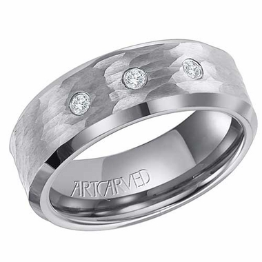ArtCarved Sanders 8mm Hammered Tungsten Carbide 3 Diamond Ring