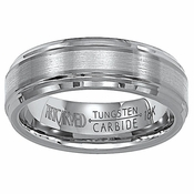 ArtCarved Sienna 7mm Tungsten Carbide Wedding Band with 18K White Gold Center