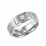 ArtCarved Slotted White Tungsten Carbide Diamond Wedding Band