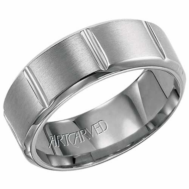 ArtCarved Sullivan 8mm Titanium Ring with Vertical Cuts