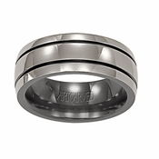 ArtCarved Tremont 7mm Black and Gray Titanium Wedding Band