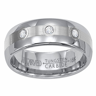 ArtCarved Triumph 8mm Tungsten Carbide Diamonds Wedding Band with 18K White Gold Inlay